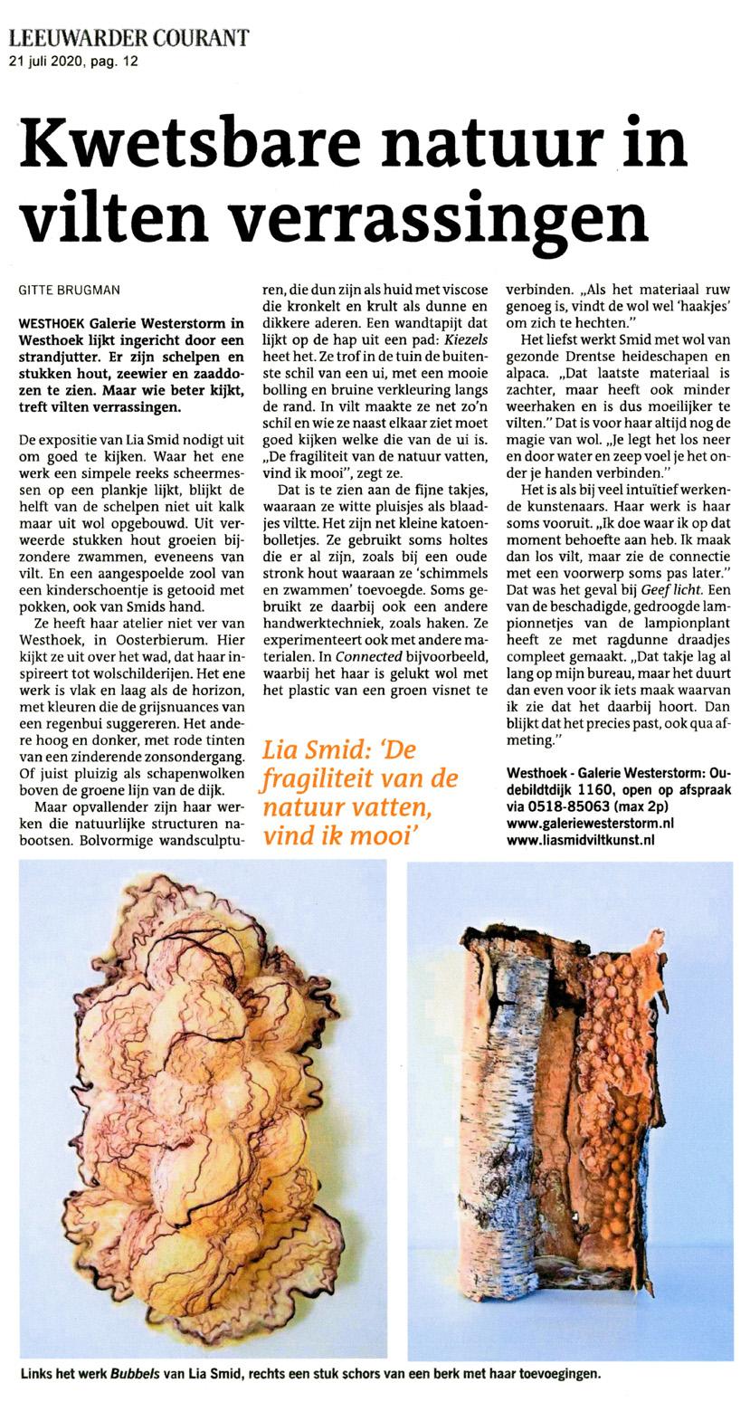 Artikel in de Leeuwarder Courant over expositie bij Galerie Westerstorm